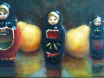 3 Dolls and Pears 8x16