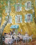 Dverin Cafe in Provence,France.36x30,oil,linen