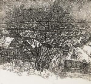 """Stanislav Nikireyev ( 1932-2007) etching 'Golden Rose Bush on the Hill"""", framed, 19"""" x21"""""""