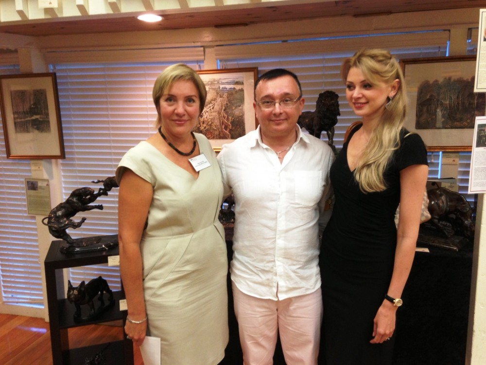 Olesya, Oleg and Zhanna Kedrya at the reception