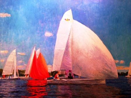 "Regatta II. Oil on canvas, size 18"" x24"", 2013, beautifully framed in a golden frame. painting was featured at ""From Moscow to Manchester by the Sea Art and Culture"" exhibit from July 26- August 4"