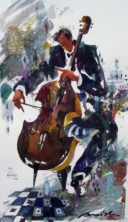Cello Player by Misha Lenn