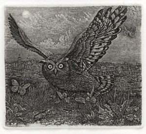 An Eagle Owl by Stanislav Nikireev (1932-2007)