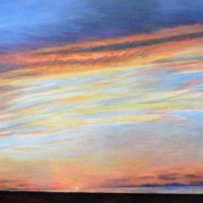 """Ocean Sunset , acrylic on canvas by Jim Kociuba, 2016, 24"""" x48"""""""