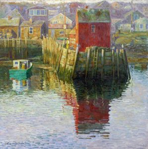 """Rockport- Motif #1"" by Anatoly Dverin, OPA. Oil on canvas, 36"" x36"", on display at the Holiday exhxibit"