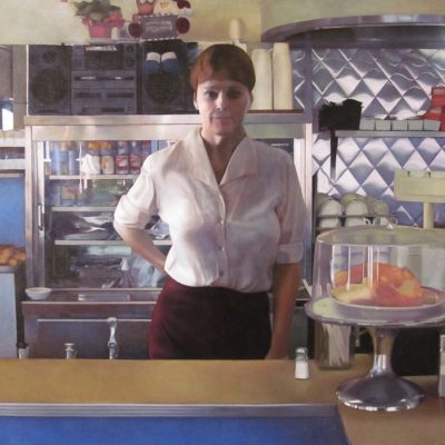 "William Oberst, North Adams, MA ""Diner Waitress"" oil on linen, 46"" x50""."