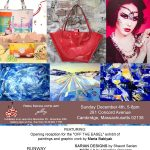 Flyer for maria Bablyak artist reception & fashion show with designers on Dec. 4th