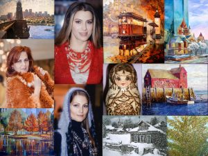 Collage of Artworks and Russian handicrafts