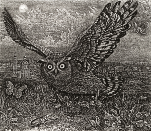 Eagle owl etching by Stanislav Nikireev (1932-2007)