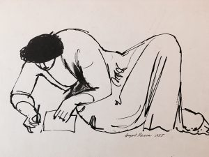 Studying Original drawing by August Mosca (1909-2002)